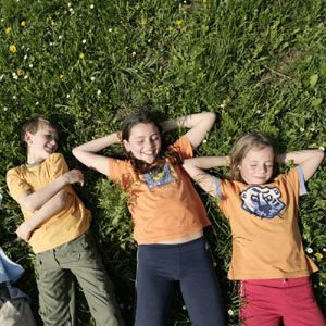 Children lying in grass S